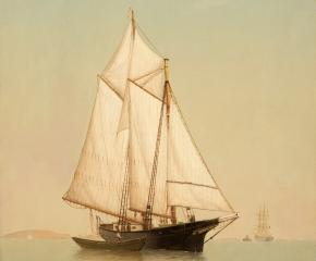 Warren Sheppard (1858–1937), Schooner off Ten Pound Island, oil on canvas, 24 x 18 in. (detail)