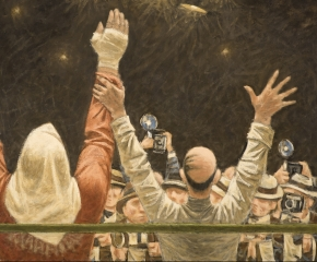 Fletcher Martin (1904–1979), Homage to Rocky Marciano, 1969, oil on canvas, 30 x 40 in. (detail)