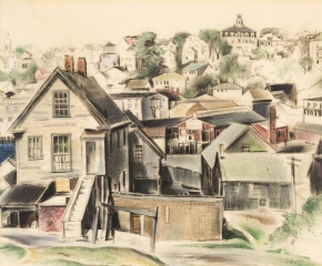 Earl Horter (1881–1940), Gloucester, Massachusetts, 1932, pastel on vellum, 12 x 14 1/2  in. (detail)