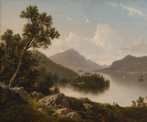 David Johnson (1827–1908), Lake George. Oil on canvas. 10 x 16 in. (detail)