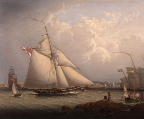 Robert Salmon (1775-c. 1845), English Cutter and Lugger, off North Shields, 1840, oil on panel, 16 1/2 x 24 1/2 in. (detail)