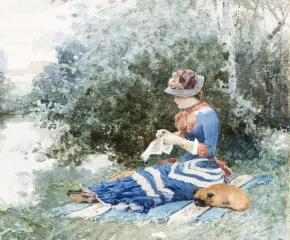 William H. Lippincott (1849–1920)  En attendant (Waiting), 1880. Watercolor on paper. 10 1/2 x 8 1/2 in. (detail)