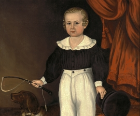 Joseph Whiting Stock (1815–1855), Full Length Portrait of a Young Boy with His Dog, c. 1840-45, oil on canvas, 47 x 38 in. (detail)