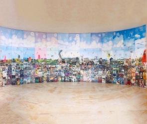 Installation of Jesse Krimes quilt