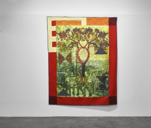 Installation of Jesse Krimes quilts
