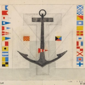 Detail of design for rear wall of Maritime Transportation Building by Lyonel Feininger