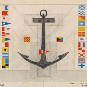 Detail of design for rear wall of Maritime Transportation Building by Lyonel Feininger