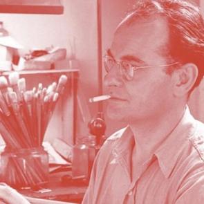 T. Lux Feininger in his studio.