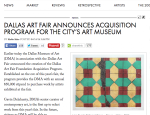 ARTNEWS: Dallas Art Fair Announces Acquisition Program for The City's Art Museum