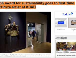 MLive: $5K award for sustainability goes to first-time ArtPrize artist at KCAD