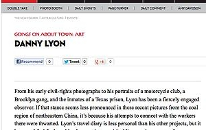 Danny Lyon Reviewed in New Yorker