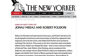 Robert Polidori/Jonas Mekas in the New Yorker Going on about Town: Art