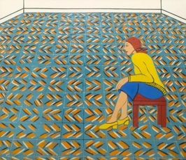 Joan Brown, 'Woman Waiting in a Theater Lobby,' 1975