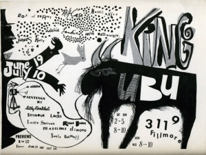 Exhibition announcement for group exhibition at King Ubu Gallery, June 19 - July 10, 1953.