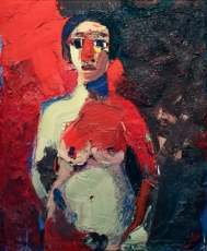 Joan Brown, Girl Standing (Girl with Red Nose), 1962