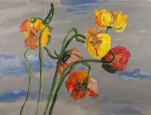 Gail Marks - Poppies, Sky, Water