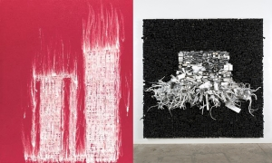 """Gary Simmons and Leonardo Drew in """"Generations: A History of Black Abstract Art"""" at the Baltimore Museum of Art"""