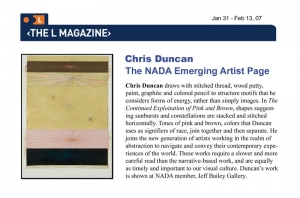 Chris Duncan: The NADA Emerging Artist Page