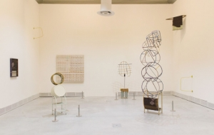 "An installation view of Suki Seokyeong Kang's ""Grandmother Tower"" at Giardini"