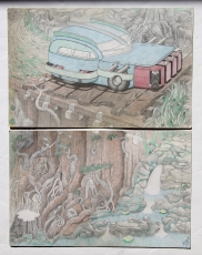 An Artist's Fantastical Drawings of Cars,  Made While Living in One