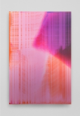 An abstract work made of predominantly pink, orange, purple, and maroon