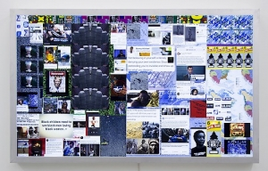 A lightbox by Kahlil Robert Irving that includes screenshots and digital images from the artist's own research