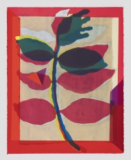 An image of a branch with 2 sets of leaves, framed by a red border. The colors are predominantly pink, green, yellow, blue, and beige.