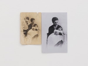 Two photographs that appear to be of the same woman holding a baby: the left image is sepia and damaged, the right photo omits a boy in the background