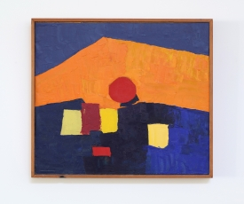 An abstract painting that includes tones on blue, red, orange, and yellow