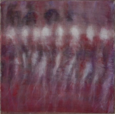 An abstract painting in pink, red, purple, and white