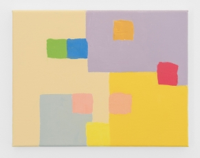 An abstract painting containing purple, grey, blue, green, red, pink, and yellow.