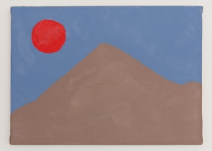 An abstract painting of a mountain scape in brown, red, and blue