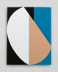 An enamel painting with abstract shapes, black, orange, blue, and white