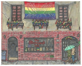 A painting of the Stonewall Inn in the rain, cartoonish