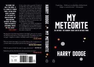 """The cover of Harry's Dodge's book """"My Meteorite,"""" with quotes by prominent writers including Eileen Myles, Hilton Als, and Wayne Koestenbaum"""