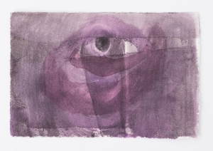 A purple drawing with varied white and black strokes of watercolor, and an eye-form in the center