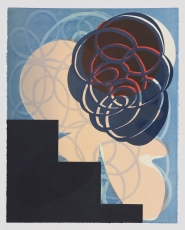 A print with a swirling cloud of blue and red, over a stair-shape at left with beige and blue background