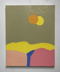 An abstract painting in yellow, orange, pink, and blue.