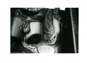 A black and white image of body part props