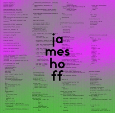 "An image of Hoff's ""Blaster"" album, with small text and tones of purple and green"
