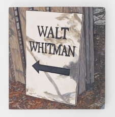 """A painting of a white sign that says """"Walt Whitman"""" with an arrow pointing left"""