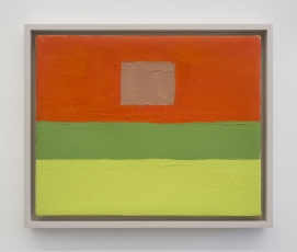 An abstract painting in red, green, and pink.