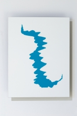 A drawing of a blue abstract shape on white aluminum
