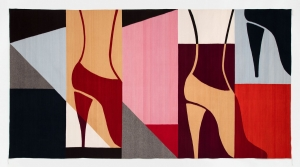 A wool tapestry of high-heeled shoes connected to legs, amid geometric shapes in black, grey, pink, red, orange, blue, beige