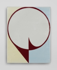 An enamel painting of a brown circle with a background that is both pale yellow and pale blue