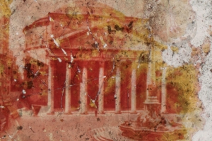 A blurred image of the Pantheon with red, orange, and yellow tones over it
