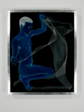 A painting of a naked man in blue with a silhouette and a transparent white sheet