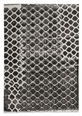 A black and white print of a chainlink fence