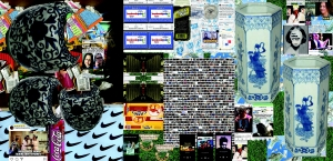 A digital collage that includes commercial insignia, ceramic vessels, and social media memes