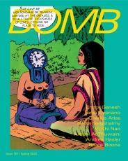 The cover of BOMB Magazine's Spring 2020 issue, with a teal background and a cartoon of a woman and mystic sitting on a rug